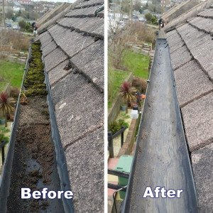 Before & After - Gutter clearance in Hove East Sussex